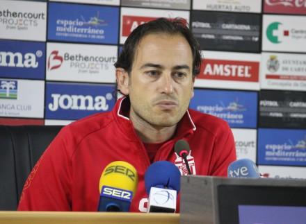 Simón Ruiz post partido contra el Córdoba B. Foto: Pedro Gómez (Crónicas deportivas de Cartagena).