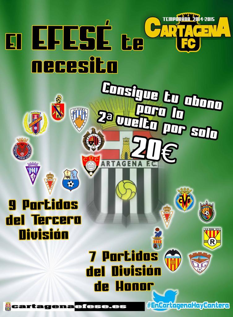 ABONOS SEGUNDA VUELTA 2014 15 CARTAGENA FC