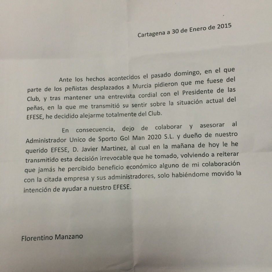 Escrito de Florentino Manzano anunciando su cese de colaboración con Sporto Gol Man 2020