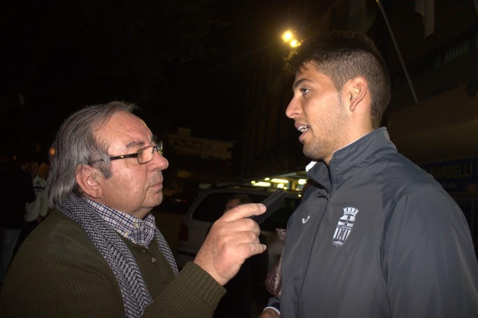 Sergio Jiménez entrevistado por Pepe González de OM Radio. Foto: Pedro Gómez (Crónicas deportivas de Cartagena).