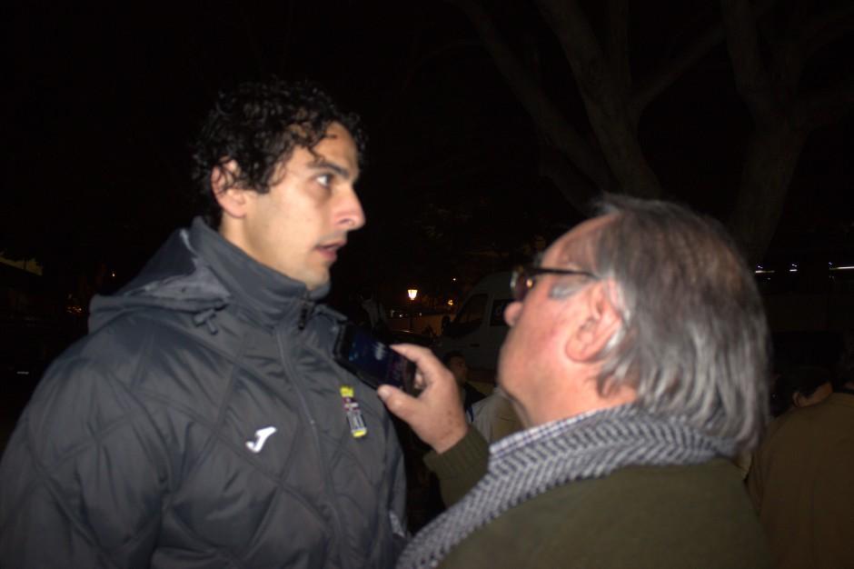 Nacho Neira entrevistado por Pepe González. Foto: Pedro Gómez (Crónicas deportivas de Cartagena).