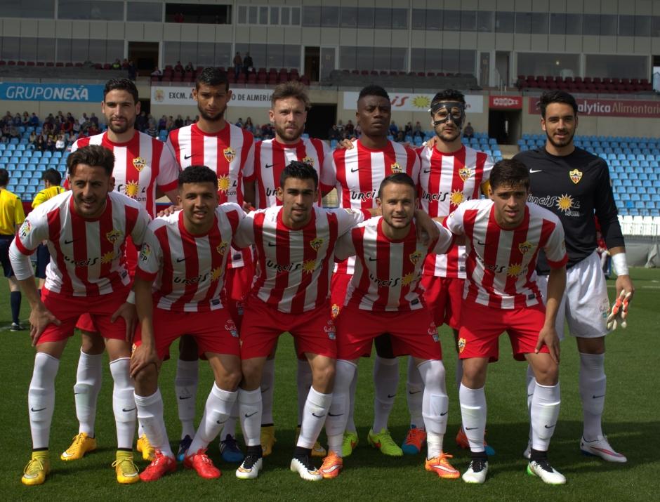 Alineación del Almería B frente al FC Cartagena. Foto: Pedro Gómez (Crónicas deportivas de Cartagena).