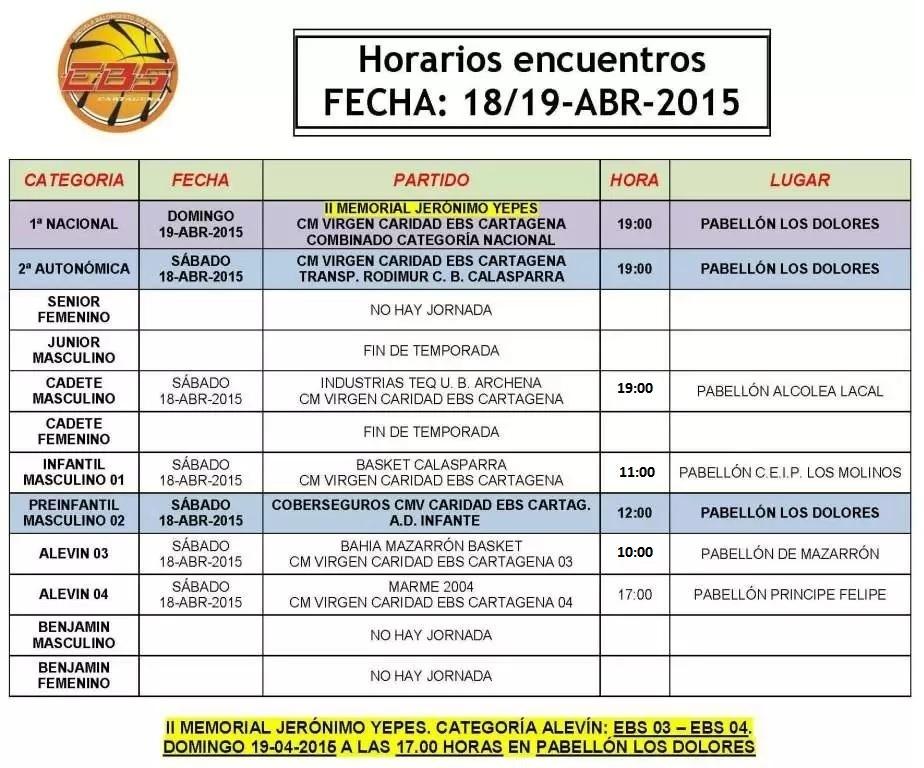 Horarios baloncesto EBS Cartagena