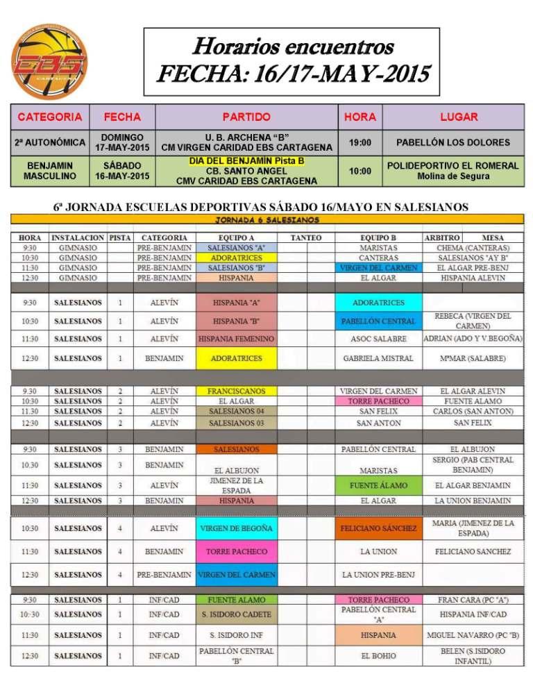 horarios 16 17 de mayo 2015