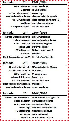 Calendario (jornada 23 a 26)-