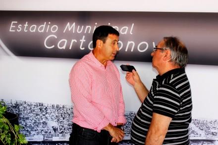 Isi García entrevistado por Pepe González de OM RadioFoto: Pedro Gómez (Crónicas deportivas de Cartagena)