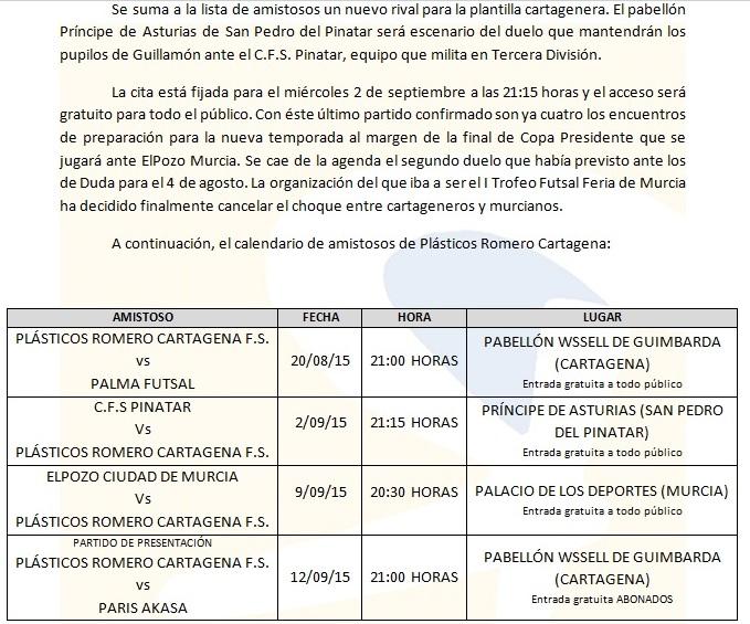 Amistosos del Cartagena FS