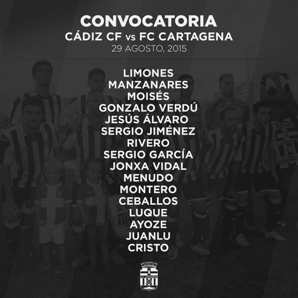 Convocatoria FC Cartagena para Cádiz (J 2)