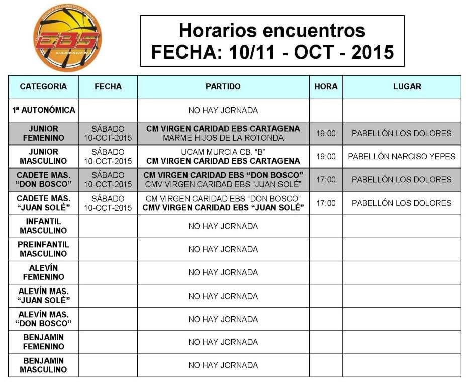 Horarios EBS Cartagena 10 y 11 oct 2015