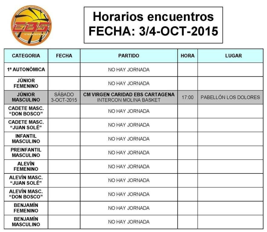 Horarios EBS Cartagena 3 4 oct 2015