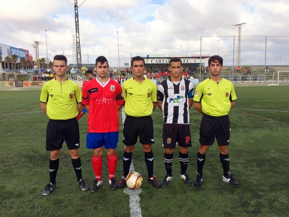 Trío arbitral del Cartagena FC Mazarón FC
