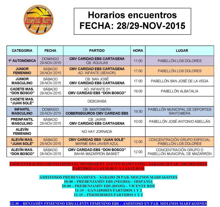 Horarios 28 y 29 noviembre