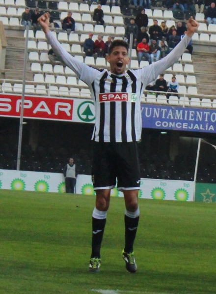 Celebración de Sergio Jiménez tras gol